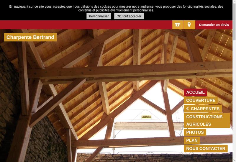 Capture d'écran du site de Charpente Bertrand