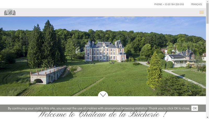 Capture d'écran du site de Chateau de la Bucherie