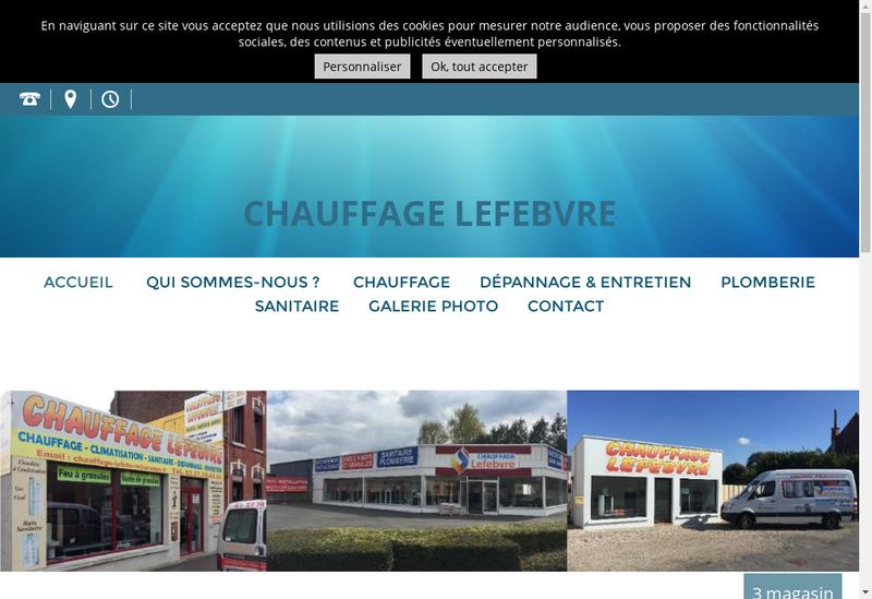 Capture d'écran du site de Chauffage Lefebvre