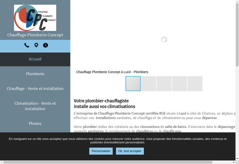 Capture d'écran du site de Chauffage Plomberie Concept