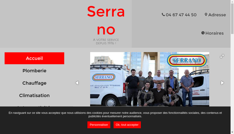 Capture d'écran du site de Etablissements Serrano