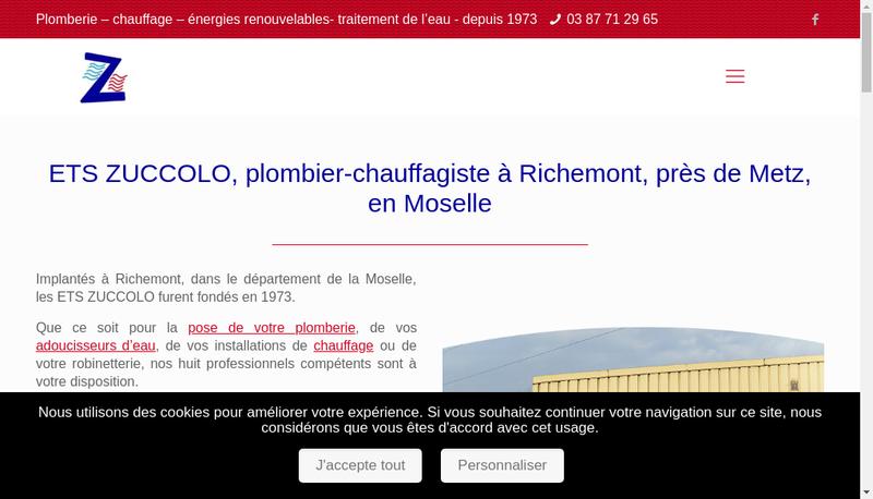 Capture d'écran du site de Ste d'Exploitation des Ets Zuccolo