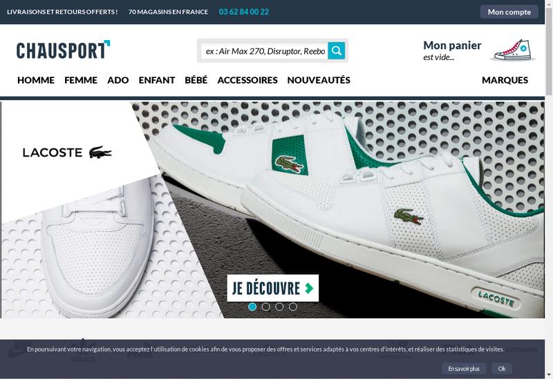 Capture d'écran du site de Chausport