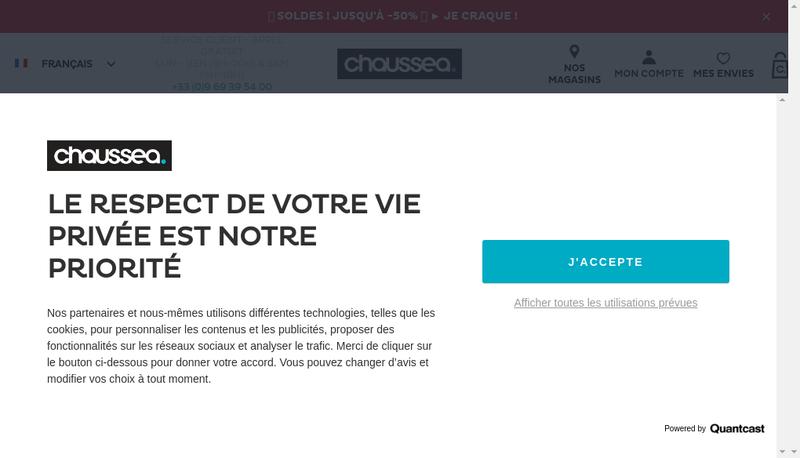 Capture d'écran du site de Chaussea SAS