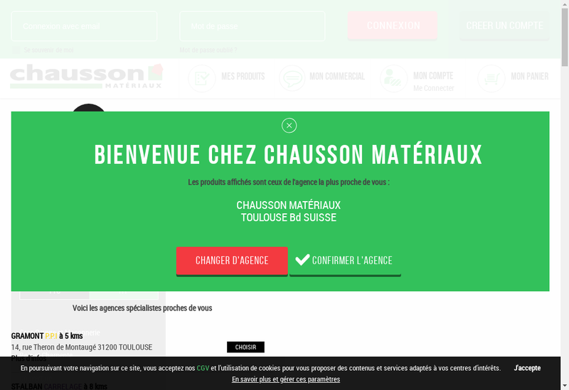 Capture d'écran du site de Chausson Materiaux