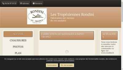 Capture d'écran du site de Sandales Tropeziennes Rondini