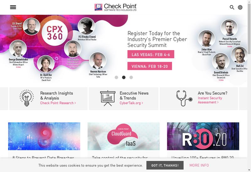 Capture d'écran du site de Check Point Software Technologies