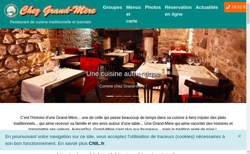 Capture d'écran du site de Chez Grand-Mere