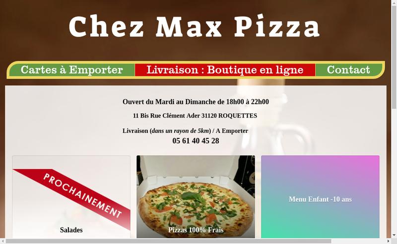 Capture d'écran du site de Chez Max Pizza