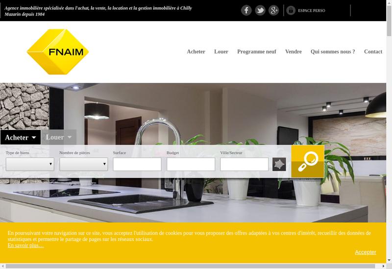 Capture d'écran du site de Agence Chilly Immobilier