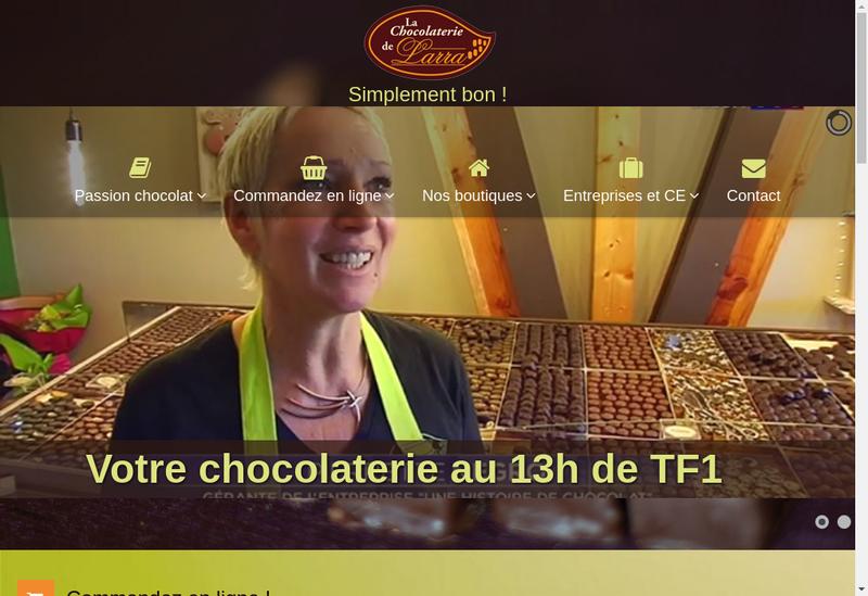 Capture d'écran du site de Chocolaterie Artisanale de Larra