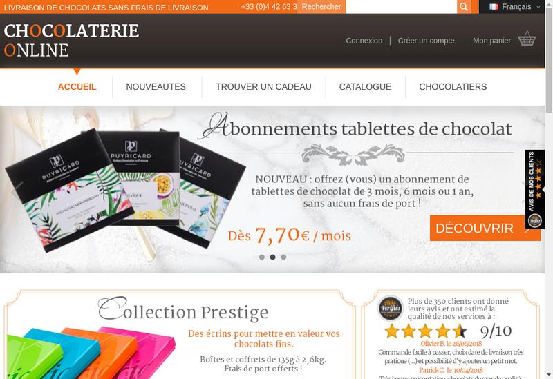 Capture d'écran du site de Chocolaterieonline