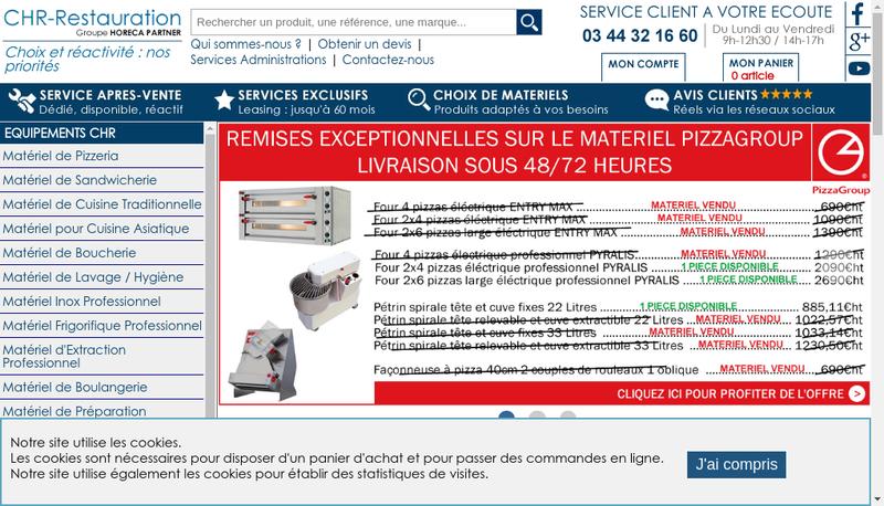 Capture d'écran du site de Horeca Partner