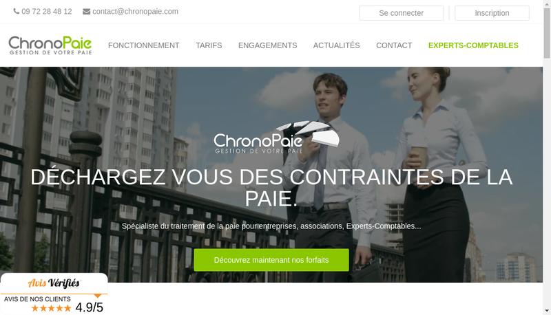 Capture d'écran du site de Chronopaie