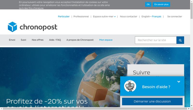 Capture d'écran du site de Chronopost