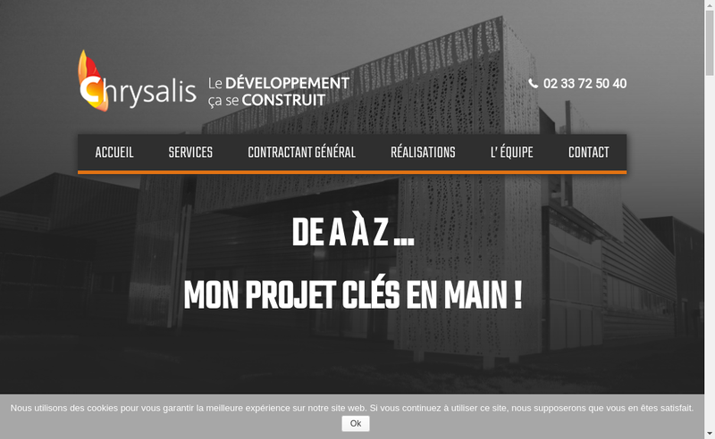 Capture d'écran du site de Chrysalis-Chrysalis Batiments d'Entreprises