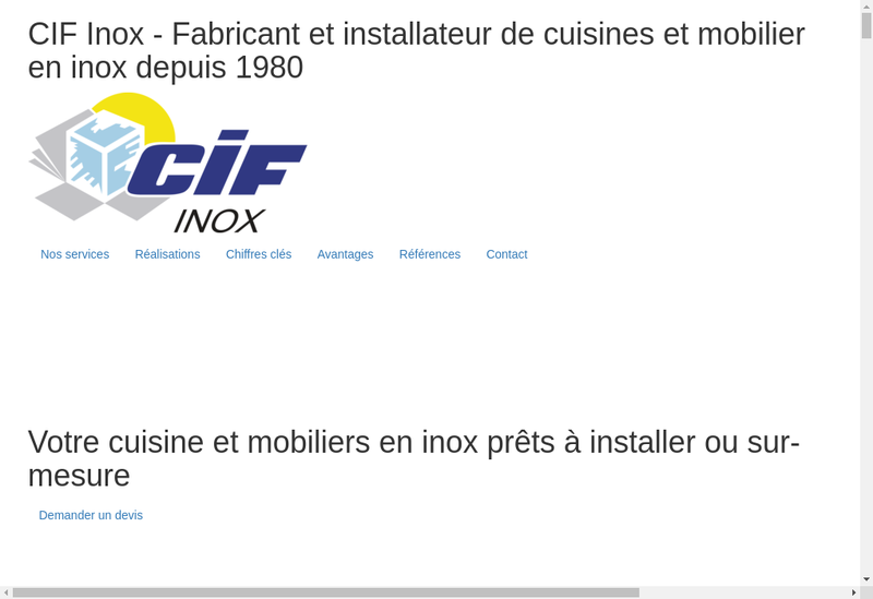 Capture d'écran du site de Cif Inox