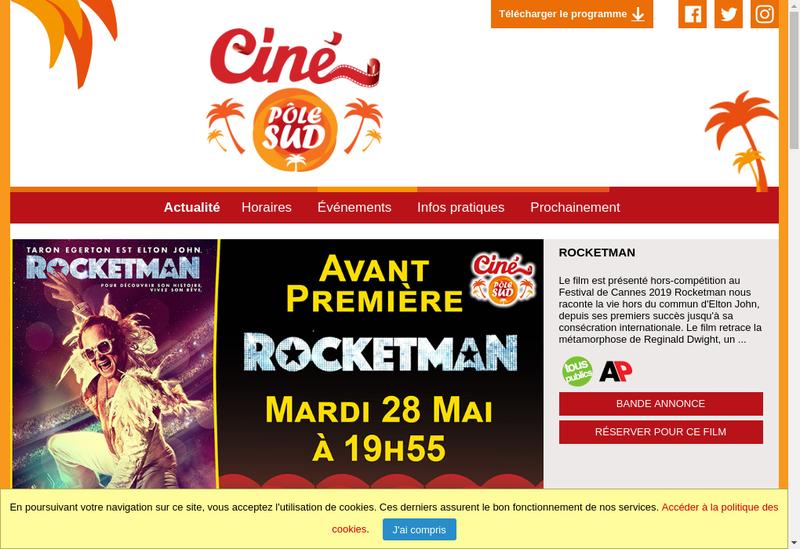 Capture d'écran du site de Cine Pole Sud