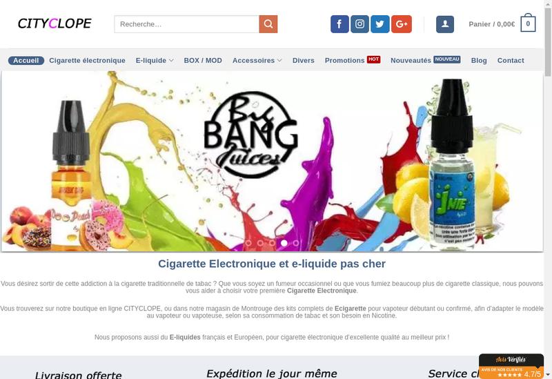 Capture d'écran du site de Cityclope