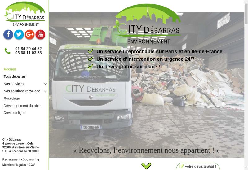 Capture d'écran du site de City Debarras
