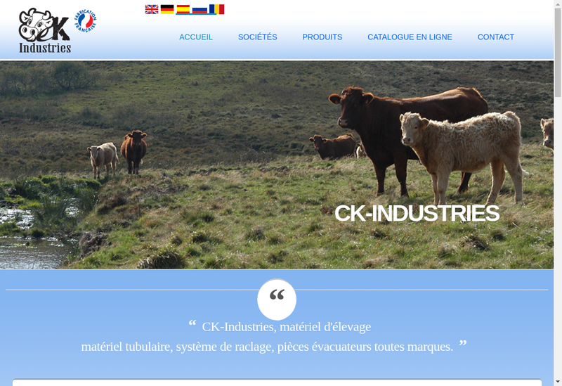 Capture d'écran du site de Ck Industries