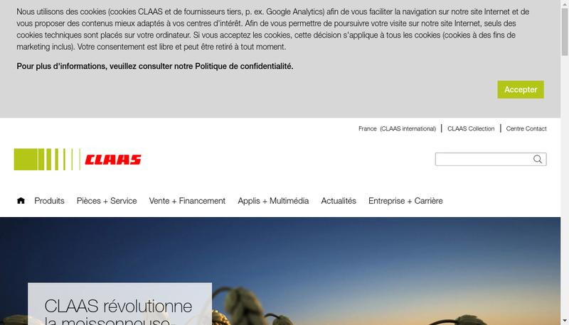 Capture d'écran du site de Claas Renault Agriculture Claas Parts Distribution