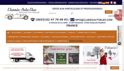Capture d'écran du site de Classic Auto Elec