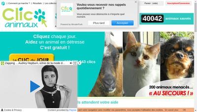 Site internet de Clic Animaux