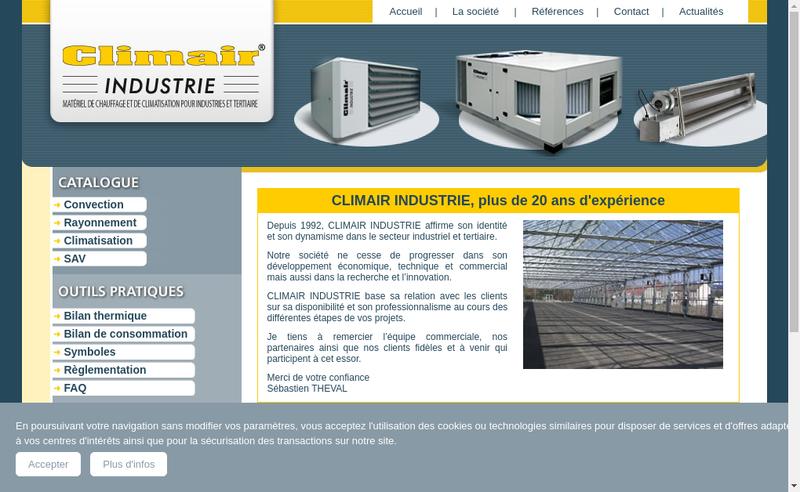 Capture d'écran du site de Climair Industrie