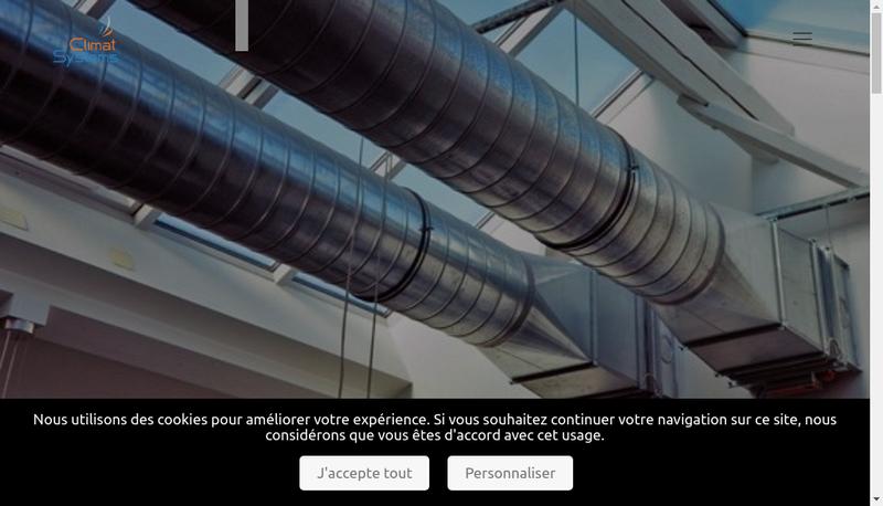 Capture d'écran du site de Climat Systems