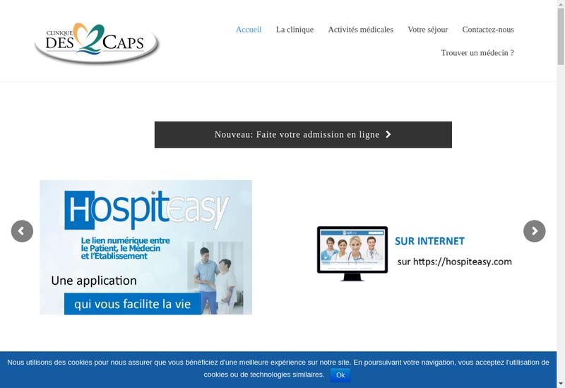 Capture d'écran du site de Clinique des 2 Caps