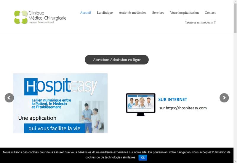 Capture d'écran du site de Clinique Medico Chirurgicale de Bruay
