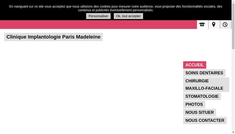 Capture d'écran du site de Clinique Implantologie Paris Madeleine