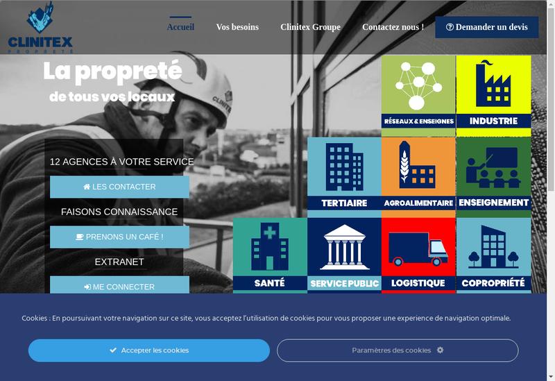 Capture d'écran du site de Clinitex Sambre Hainaut