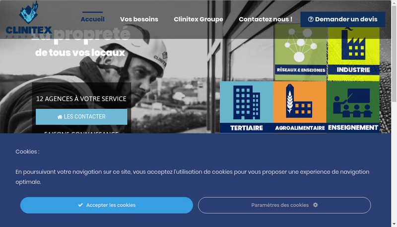 Capture d'écran du site de Clinitex 62