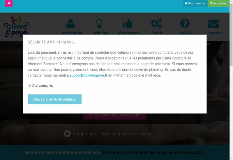 Capture d'écran du site de Clivrecpaye