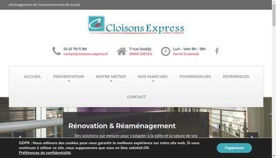 Site internet de Cloisons Express
