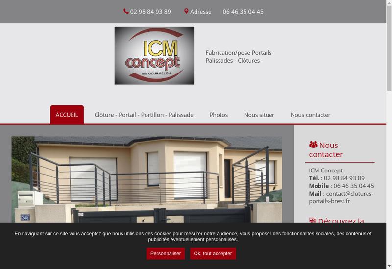 Capture d'écran du site de Icm Concept