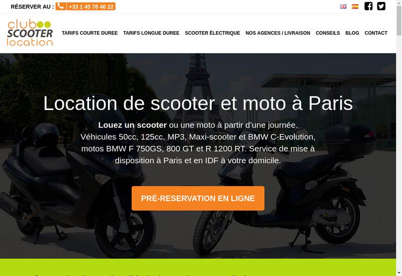 Capture d'écran du site de Club Scooter