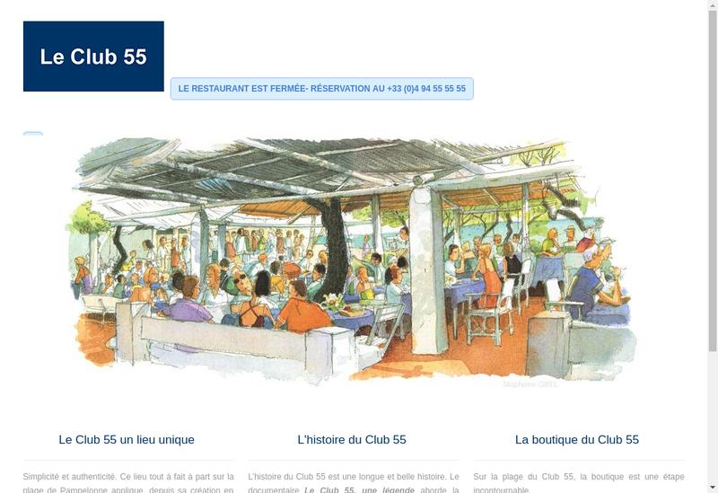 Capture d'écran du site de Le Club 55