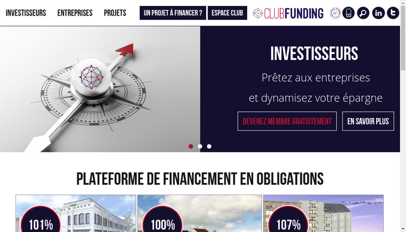 Capture d'écran du site de Club Funding