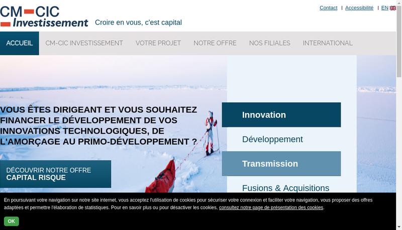 Capture d'écran du site de Cm-Cic Transactions Pme