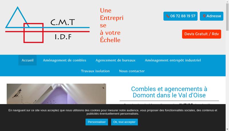 Capture d'écran du site de Combles Maconnerie Toiture SARL