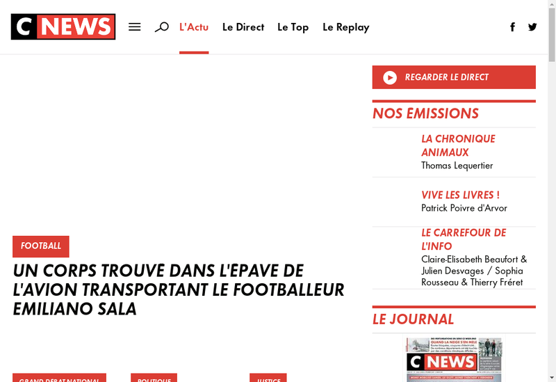 Capture d'écran du site de Cnews
