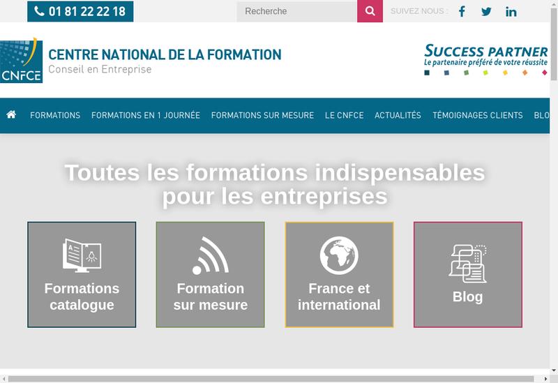 Capture d'écran du site de Ctre Nal de la Formation Conseil en En