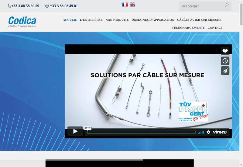 Capture d'écran du site de Codica