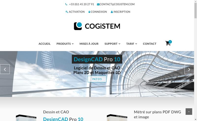 Capture d'écran du site de Cogistem - Designcad Europe