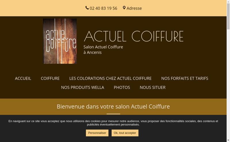 Capture d'écran du site de Actuel Coiffure
