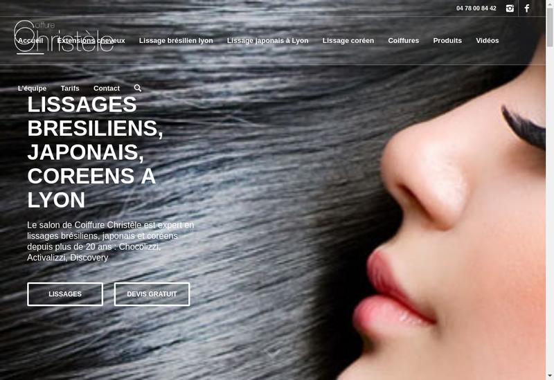 Capture d'écran du site de Coiffure Christele