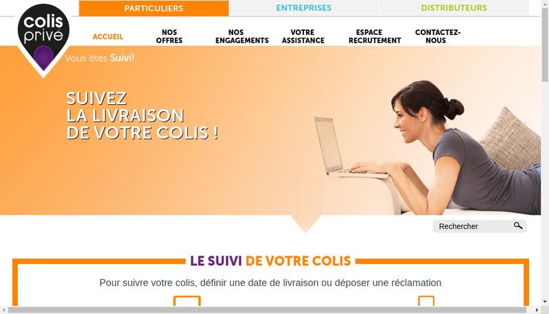 Capture d'écran du site de Colis Prive